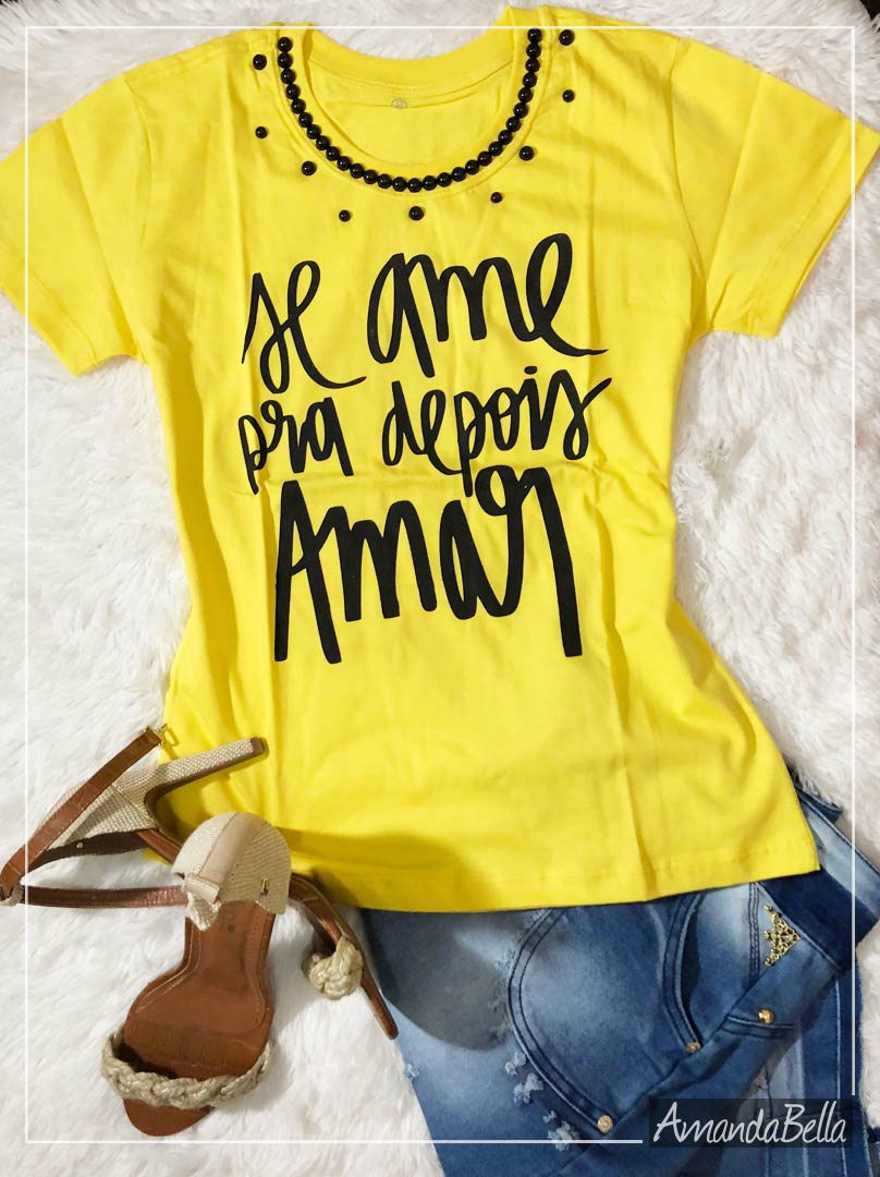 T-Shirt Bordada Se Ame - AmandaBella