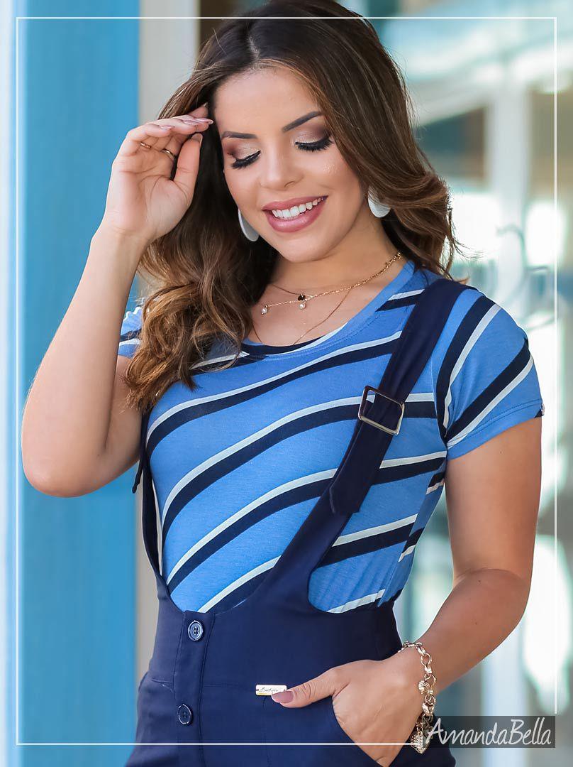 T-Shirt Feminina Esportiva Listras  - Boutique K