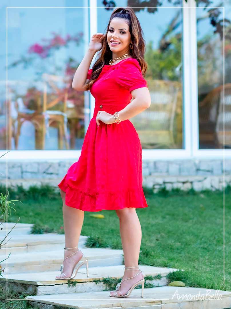 Vestido Acinturado Caroline com zíper Vermelho - Boutique K