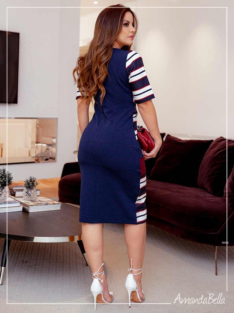 Vestido  Azul Marinho Listrado - Amanda Bella