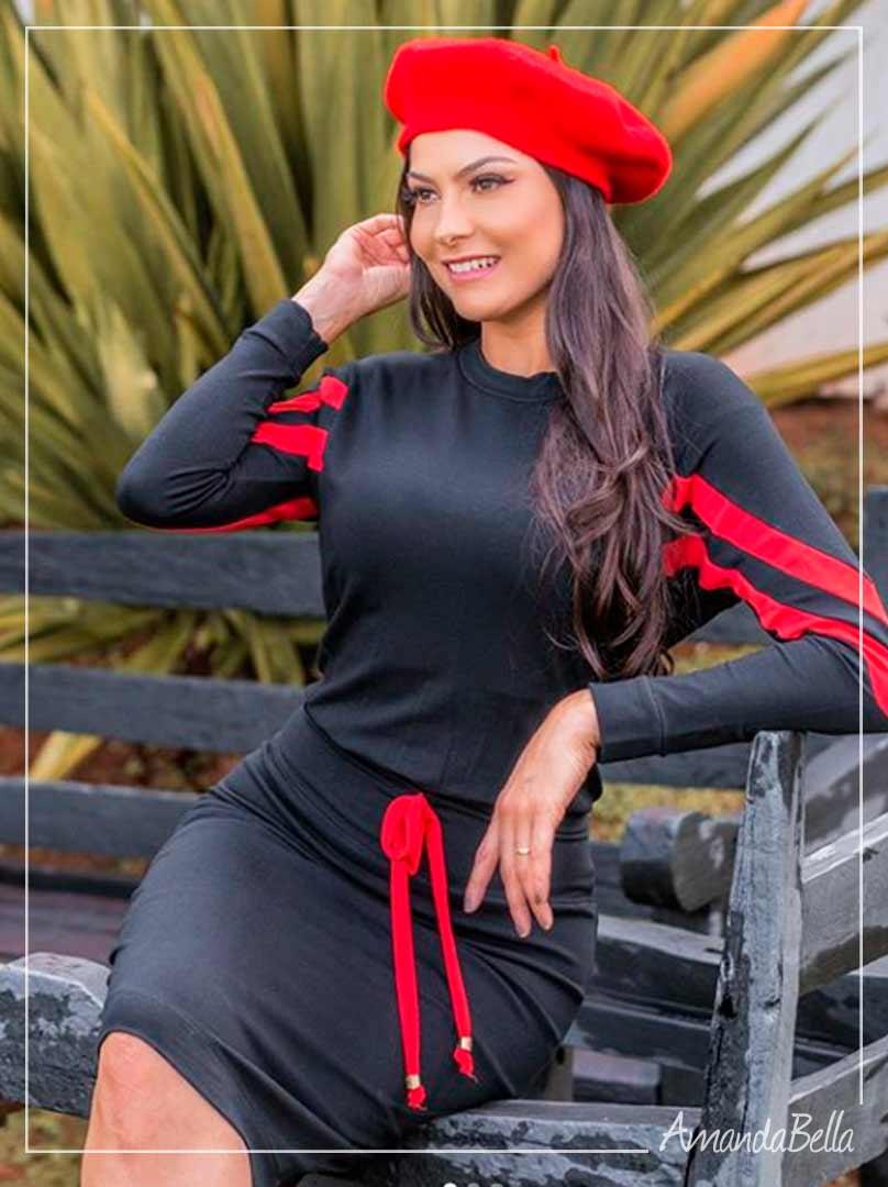 Vestido Bicolor Preto e Vermelho Premium- Ellas