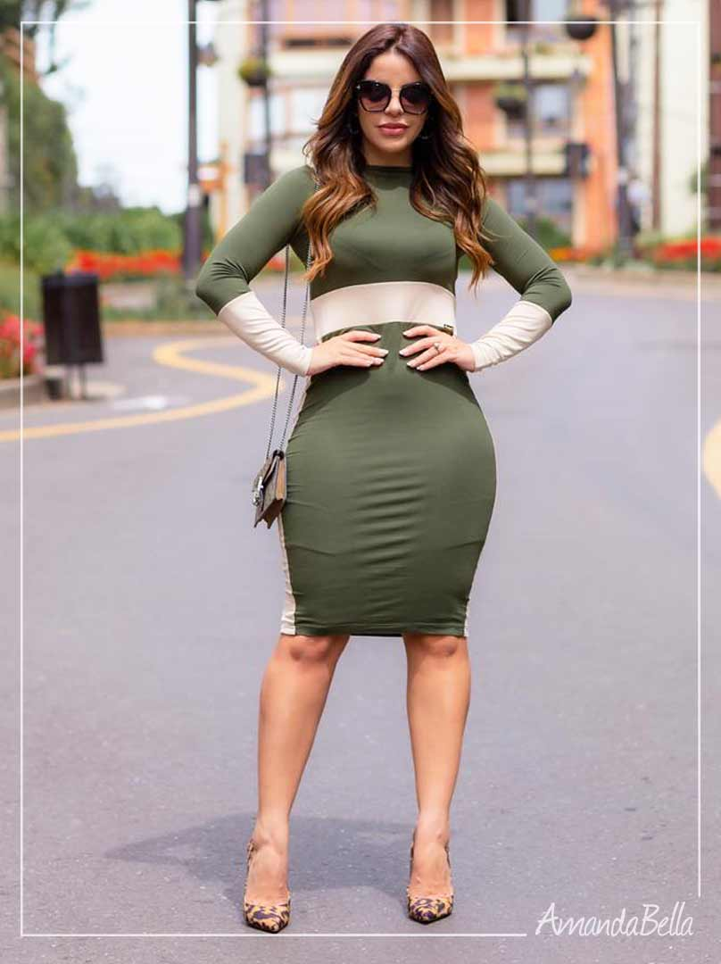 Vestido Bicolor Verde Militar - Boutique K