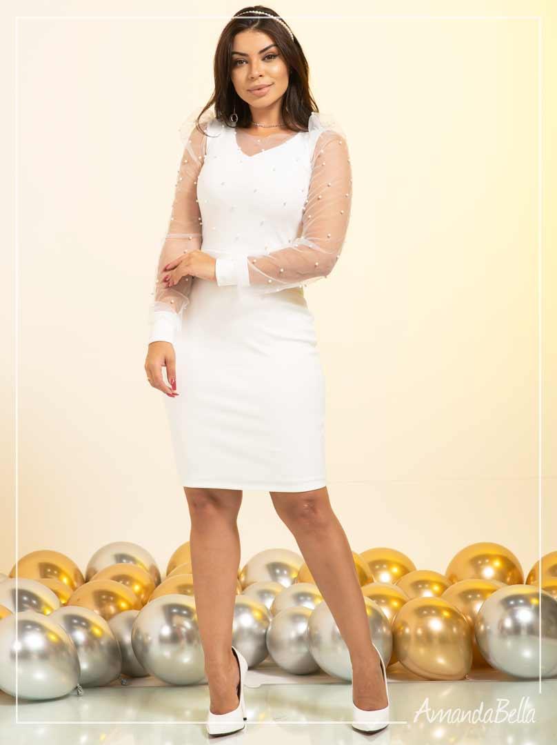 Vestido Branco Tubinho  com Aplique Pérolas- Amanda Bella
