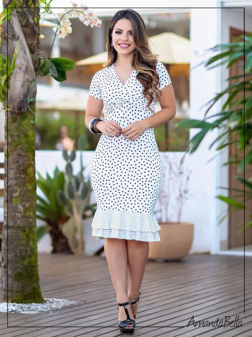 c731a96c0 Vestido Branco Tubinho em Poá Preto com babado | Boutique K
