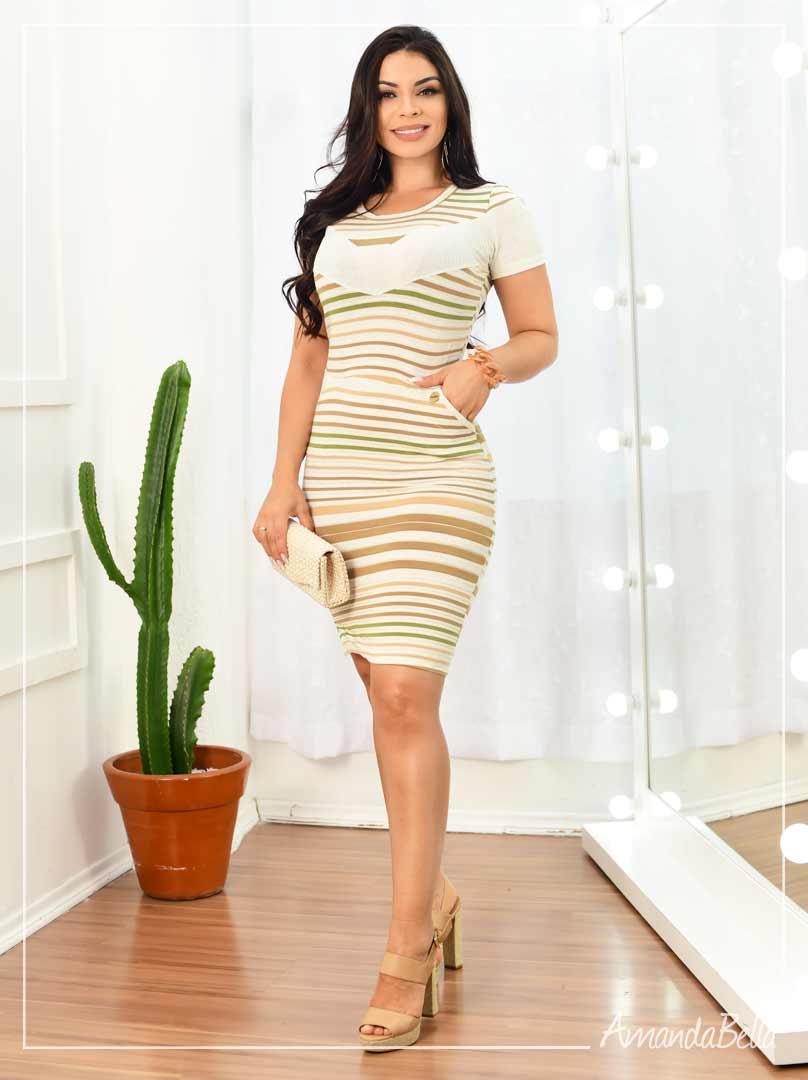 Vestido Casual Listrado Palha - Fm Fashion
