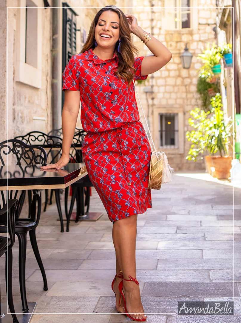 Vestido Chemise Com Botões Frontal- Boutique K