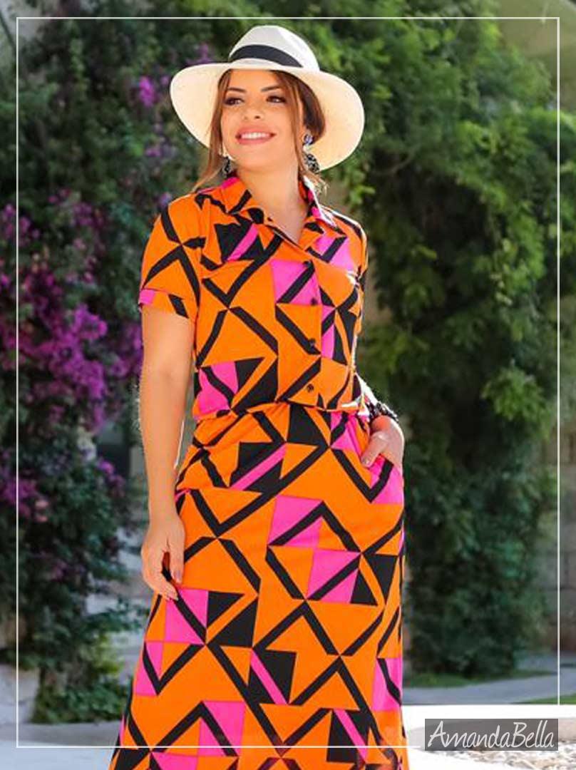 Vestido Chemise em Malha Fria Forrado- Boutique K