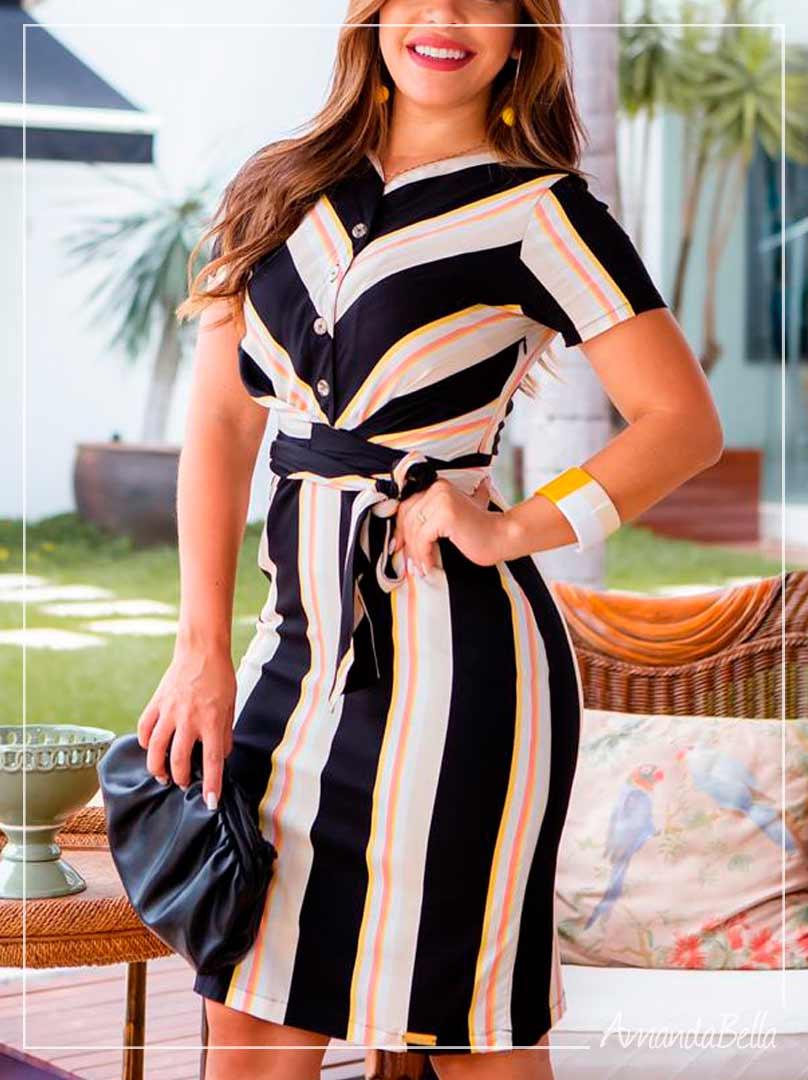 Vestido Chemise Listrado com Botões - Boutique K