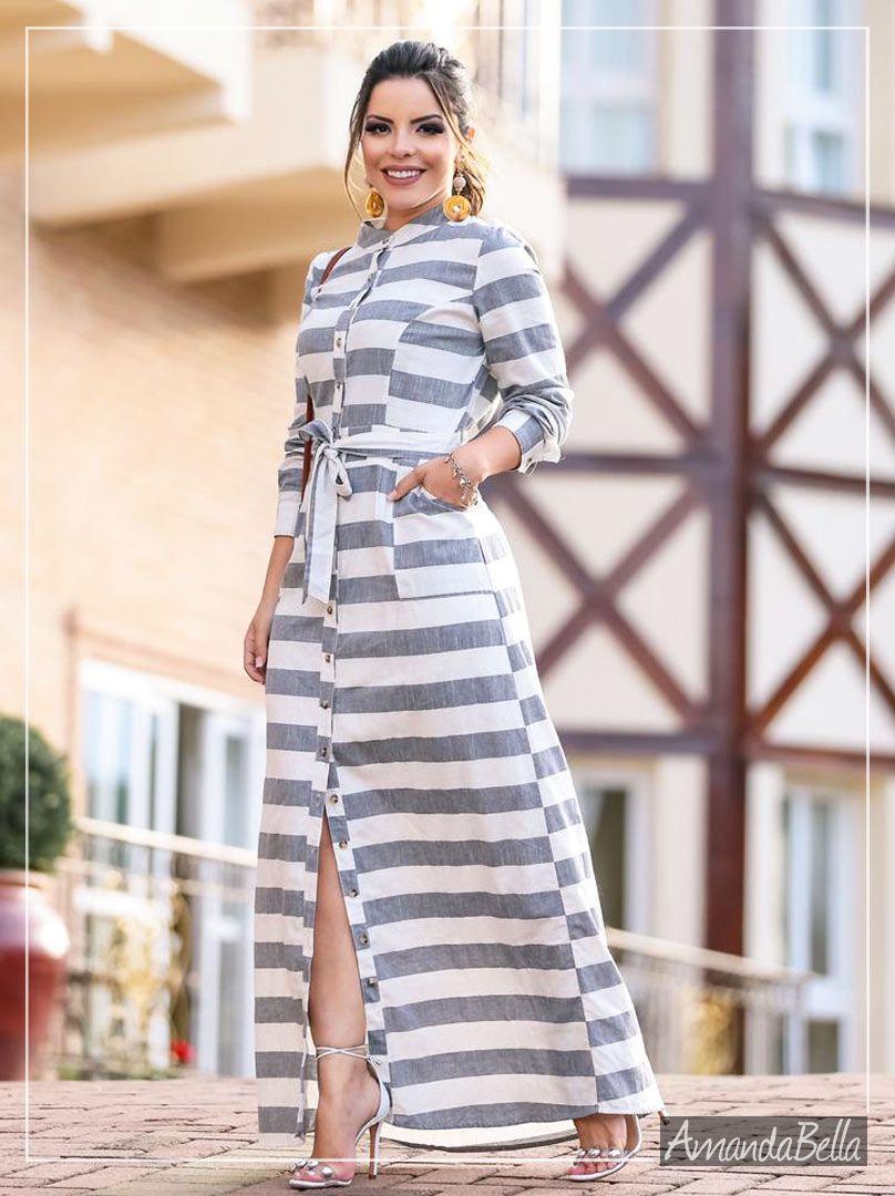 Vestido Chemise Longo Listrado - Boutique k fb012e963c3