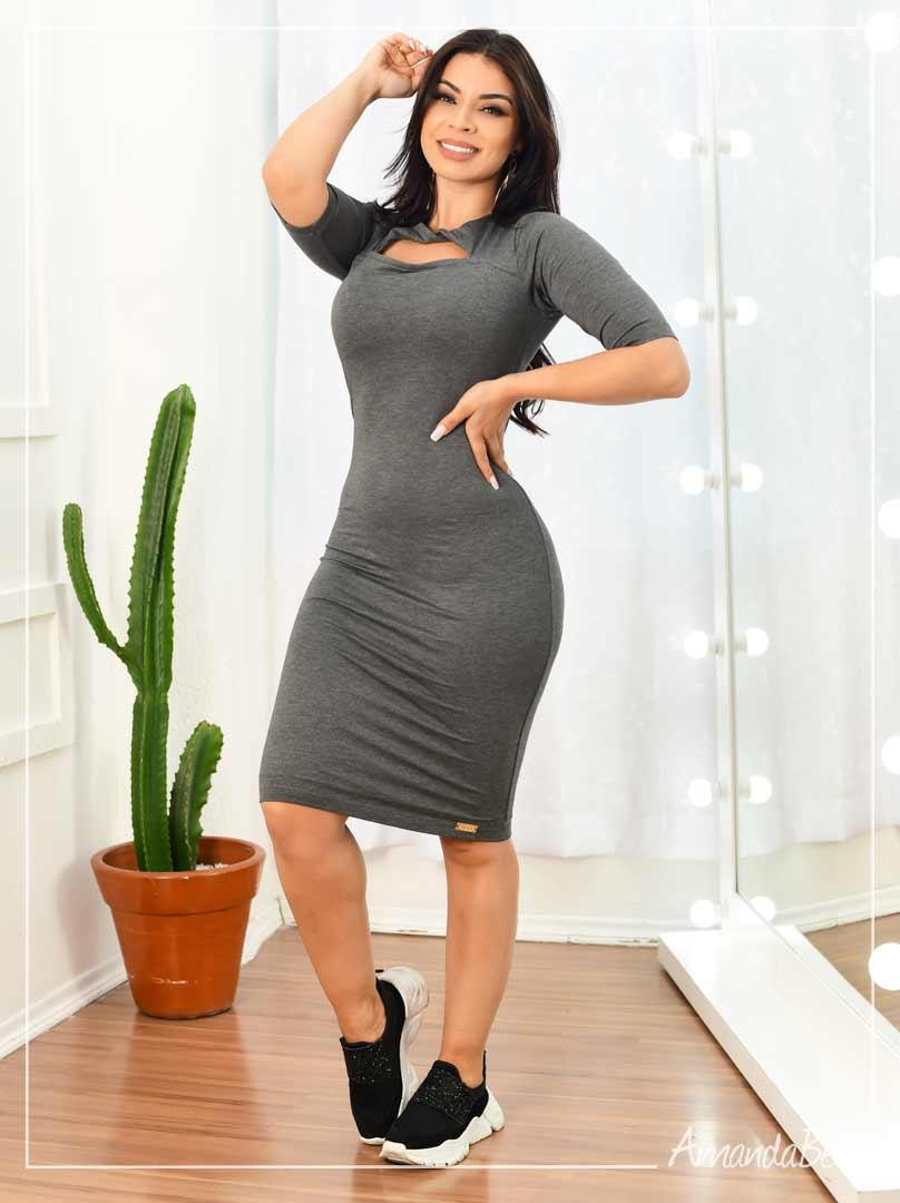 Vestido Clássico Cinza com Detalhe - Boutique K