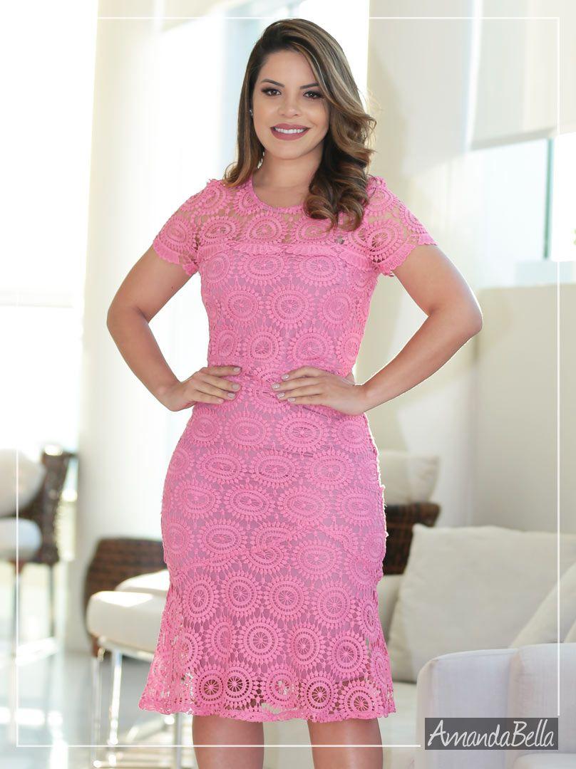 Vestido Clássico Guipir Rosa - Az Irmas