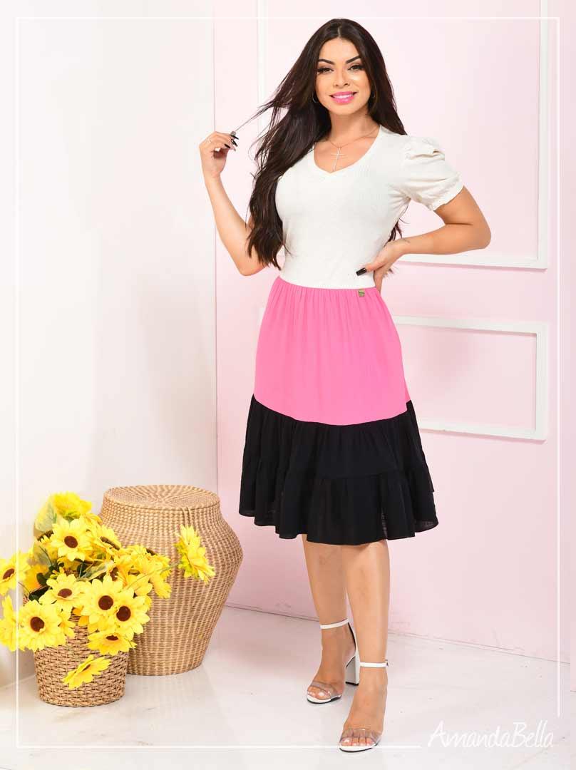 Vestido Color Block com Preto  - Fm Fashion