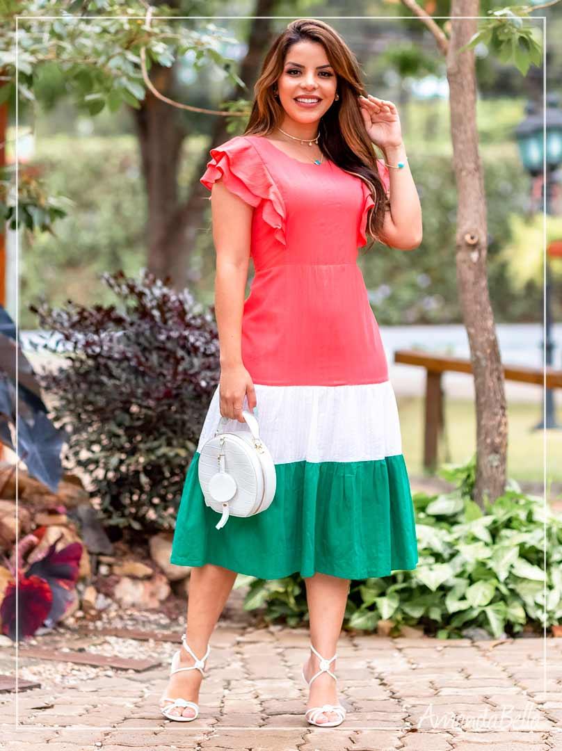 Vestido Color Block Midi - Moda Feminina