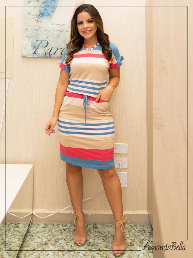 865e28e84 Vestido com Elástico na Cintura Esporte Moda Evangélica | Boutique K