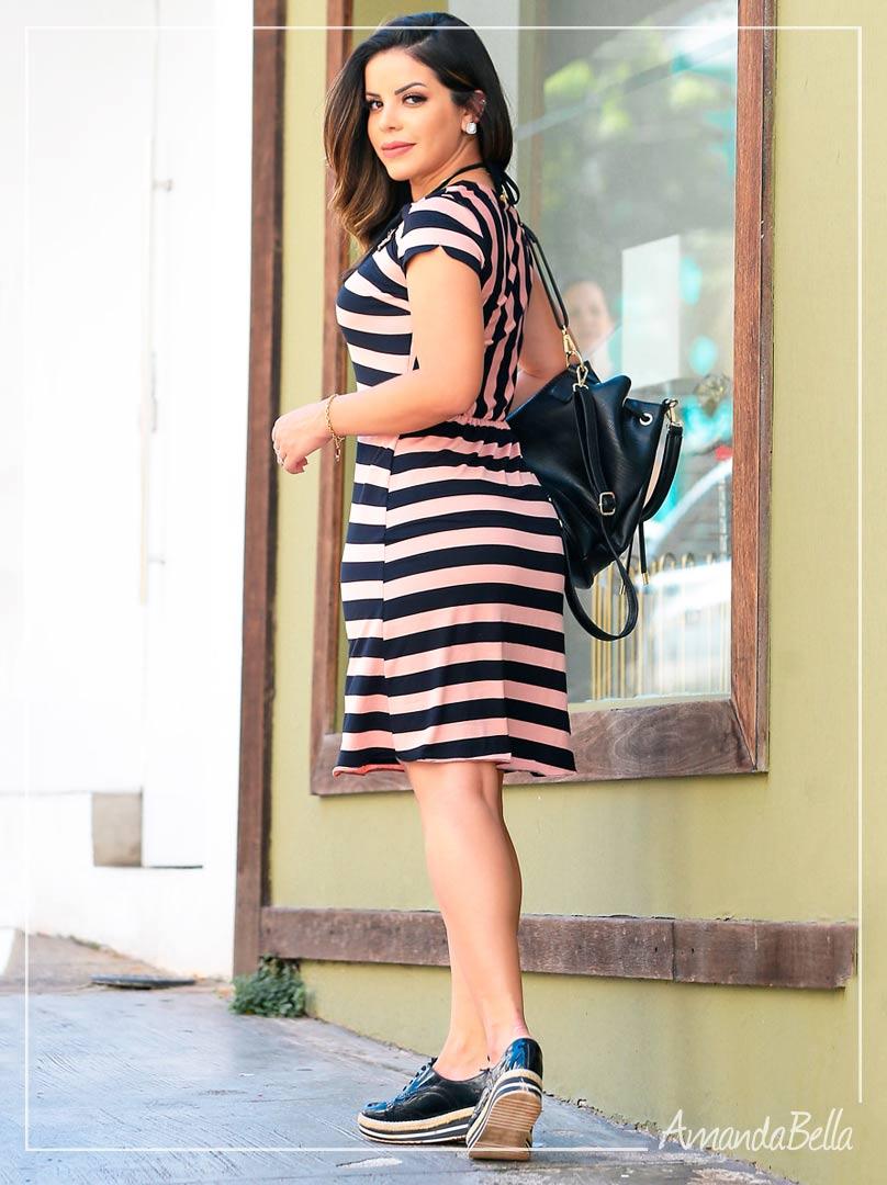 Vestido de Listras  Soltinho - Luciana Pais