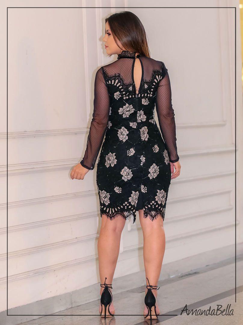 Vestido de Renda Curto Elegance Outono Inverno 2019 - Az Irmãs