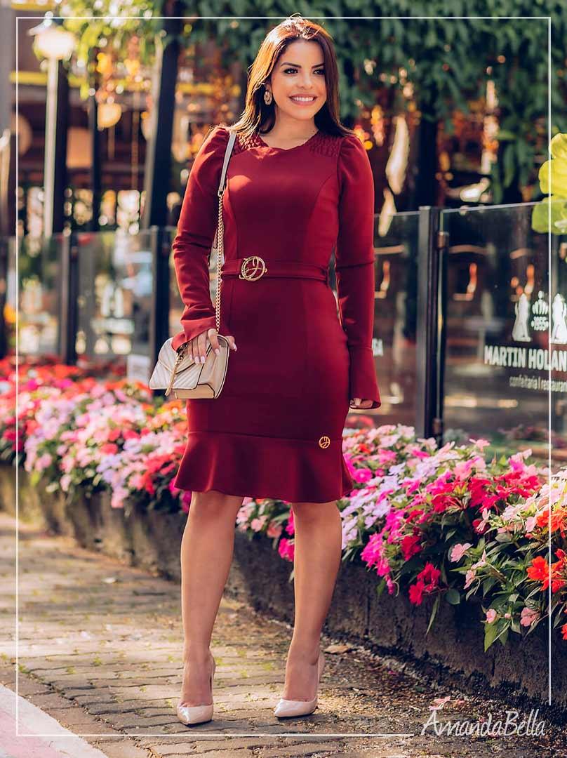 Vestido Elegance Com Babado Premium - Joyaly
