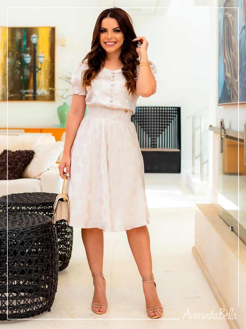 Vestido em Cetim   Pérola  -Boutique K