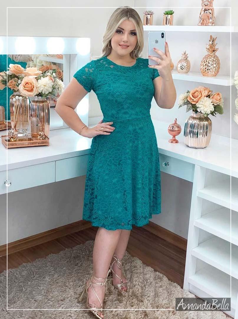 Vestido em Renda Jade - Moda Evangélica