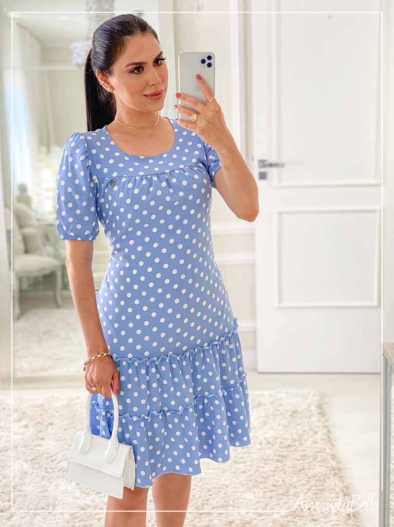 Vestido em Viscose Poá  Azul- Fm Fashion