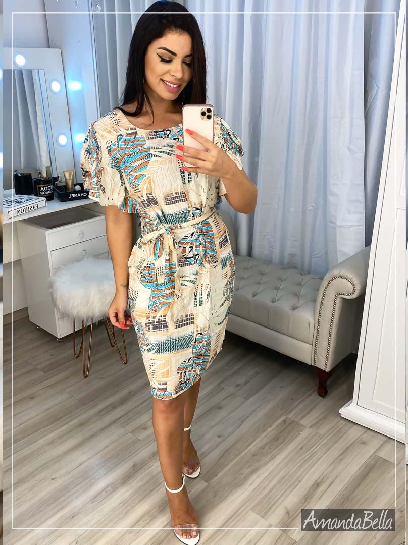 Vestido em Viscose Premium Estampado - Amanda Bella