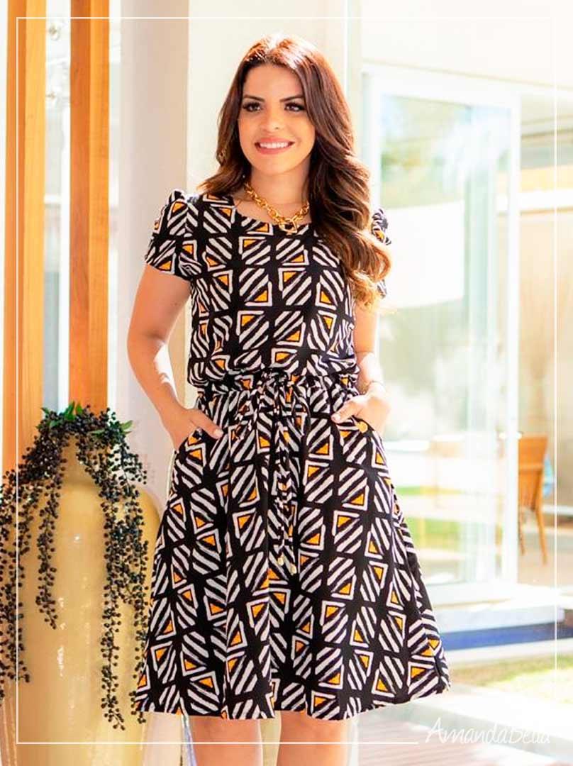 Vestido em Viscose Premium Estampado -Boutique K