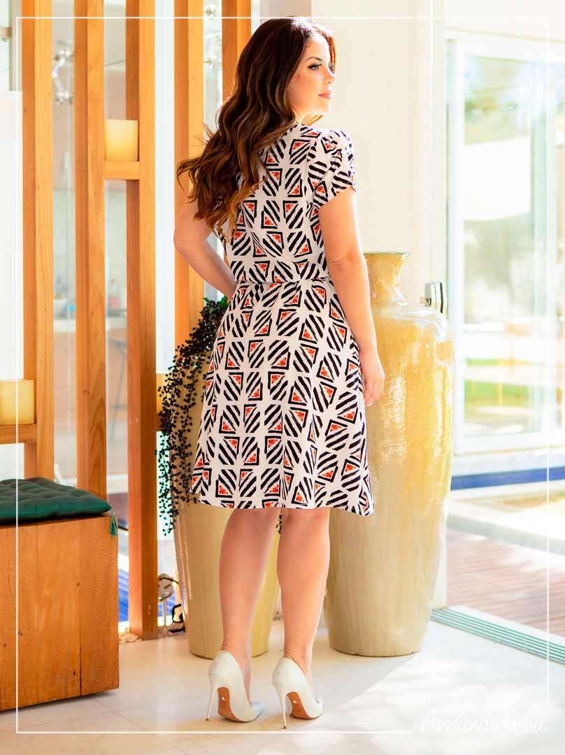 Vestido em Viscose Premium Estampado  Off -Boutique K