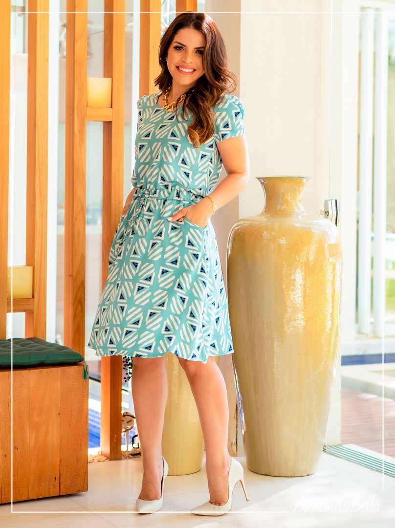 Vestido em Viscose Premium Estampado  Verde água  -Boutique K