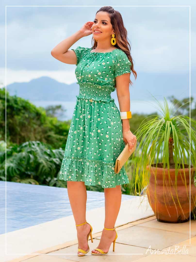 Vestido em Viscose Premium Verde - Boutique K