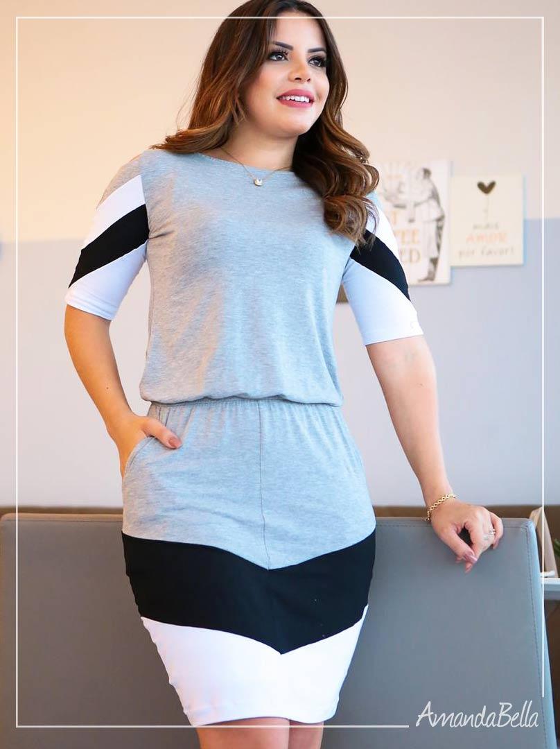 Vestido Esporte com Elástico na Cintura Cinza Claro - Boutique K