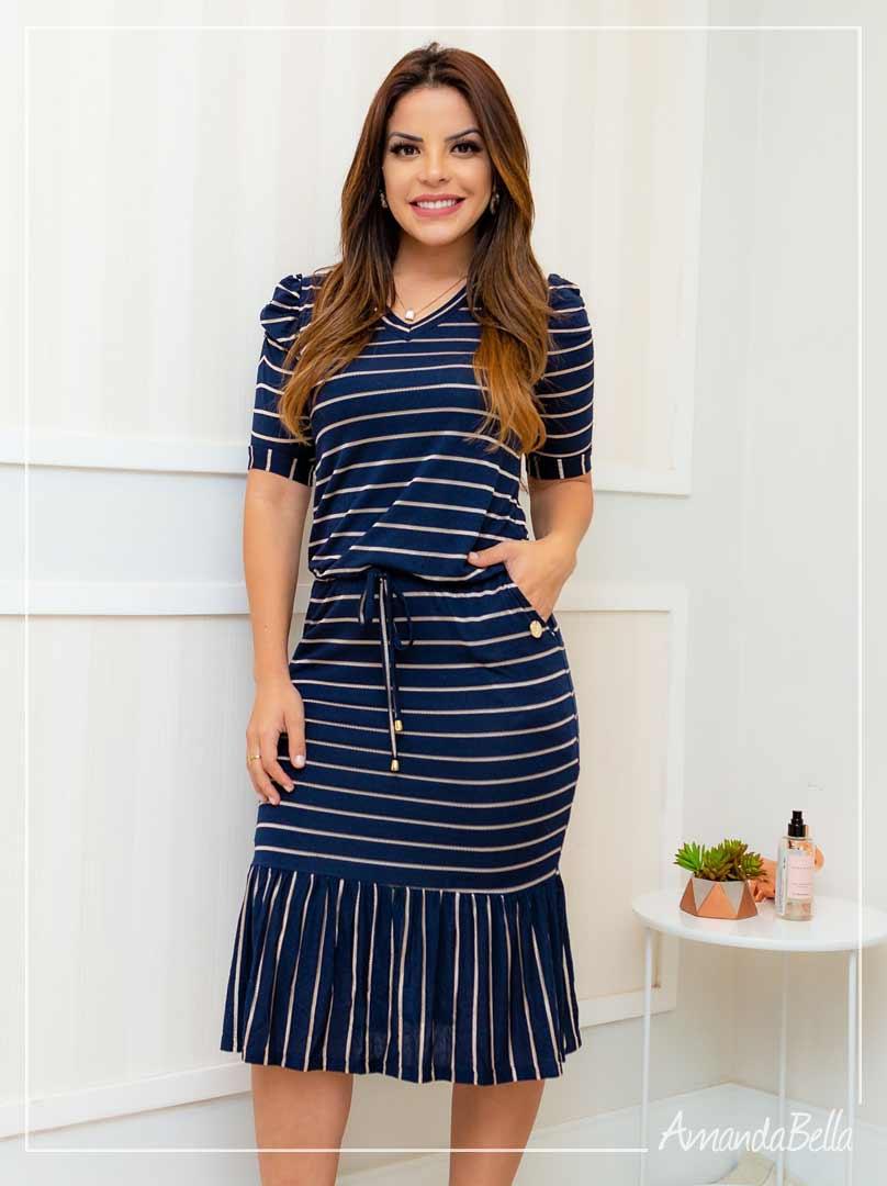 Vestido Esporte Fino Azul Marinho - Boutique K