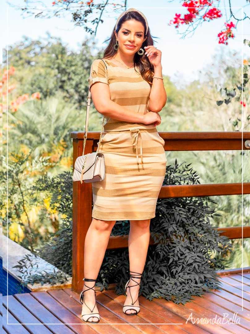 Vestido Esporte Fino com Elástico na Cintura Dourado- Boutique K