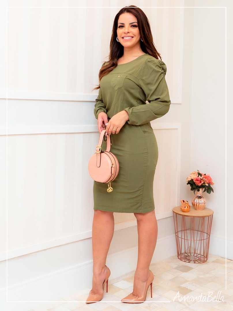 Vestido Esporte Fino com Elástico na Cintura Verde Militar - Boutique K
