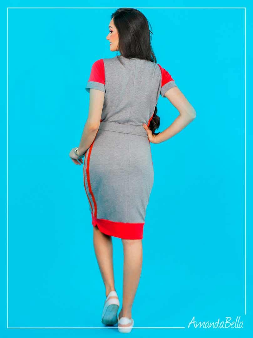 Vestido Esporte Fino Contraste - Joyaly
