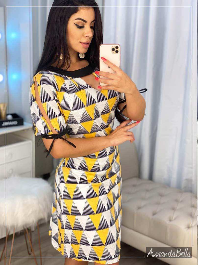Vestido Estampa Geométrica 3D Deluxe - Amanda Bella