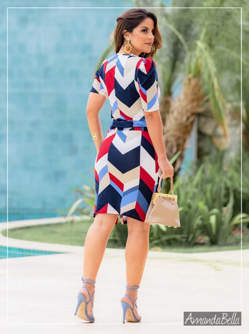Vestido Estampa Geométrica e Elástico na cintura - Boutique K