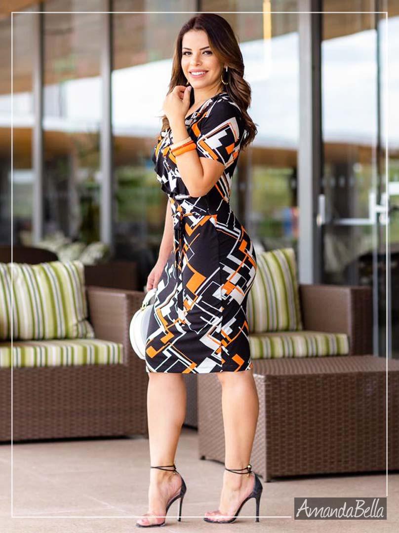 Vestido Estampa Geométrica Premium  - Boutique K