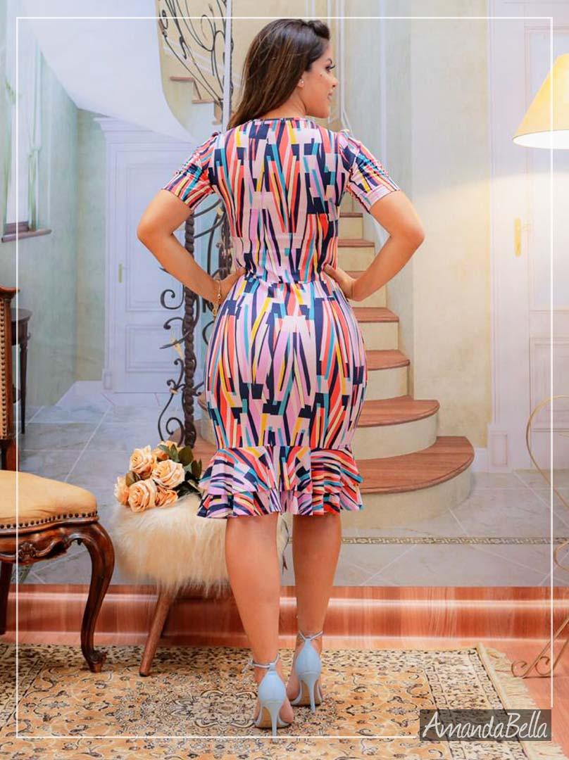 Vestido Estampado com Babadinho - Boutique K