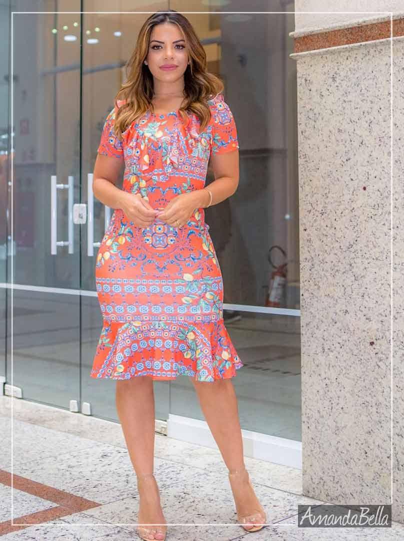 Vestido Estampado com Babado- Boutique K