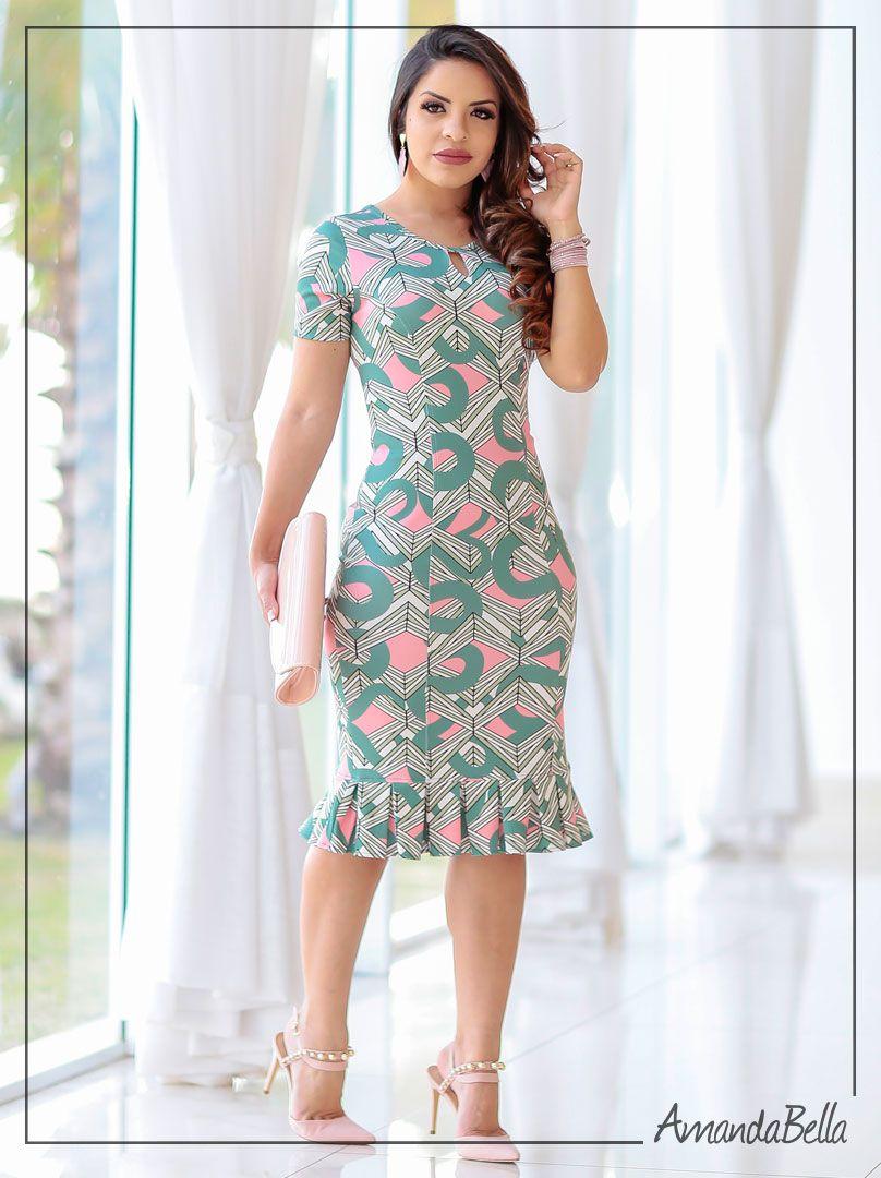 183ebb1f2 Vestido Estampado Feminino Tubinho com Babadinho   Boutique k