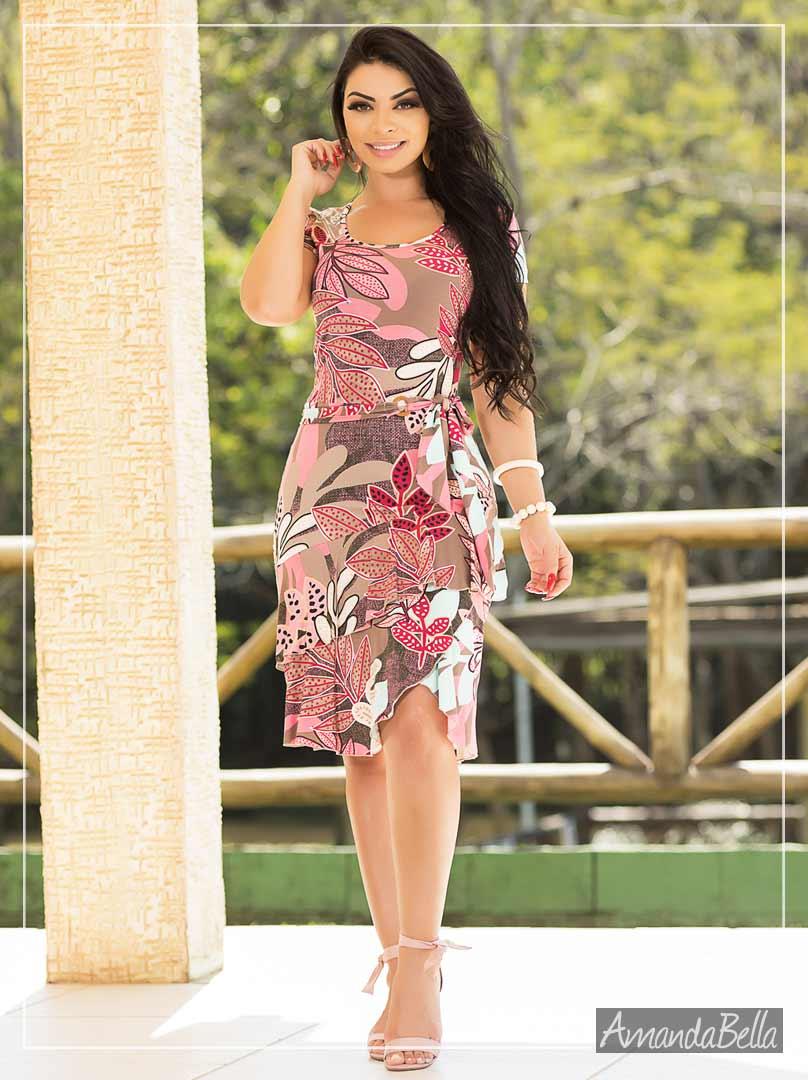 Vestido Estampado Florido - Fm Fashion