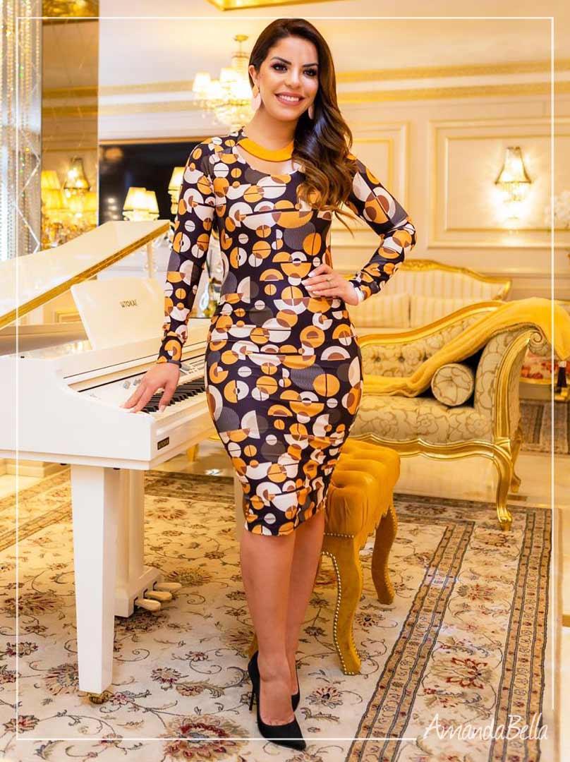 Vestido Estampado Premium Estampado com Zíper - Boutique K
