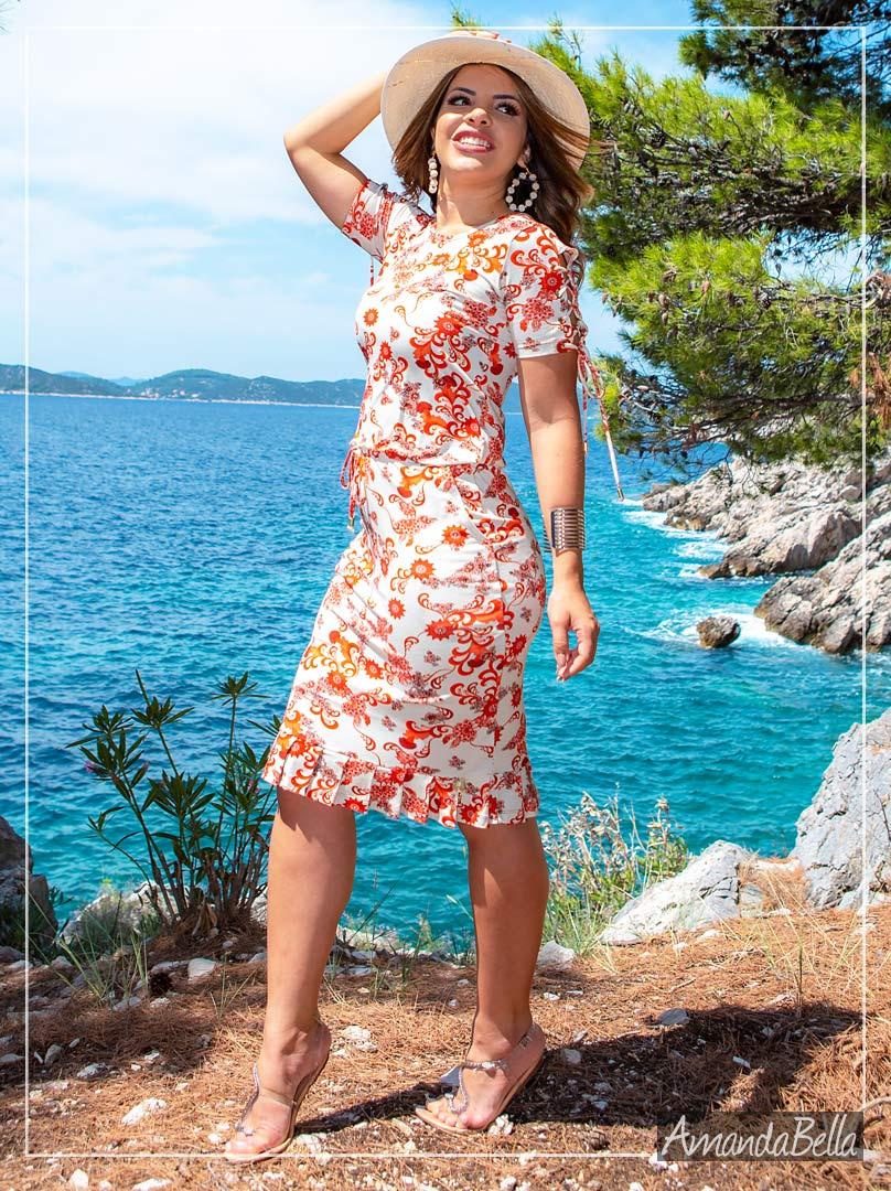 Vestido Estampado Trançado no Ombro - Boutique K