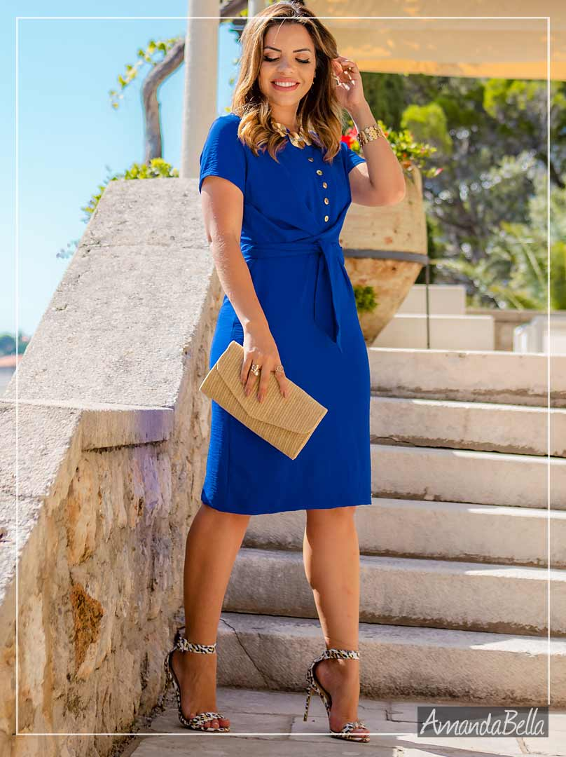Vestido Estilo Chemise com Amarração Frontal - Boutique-k