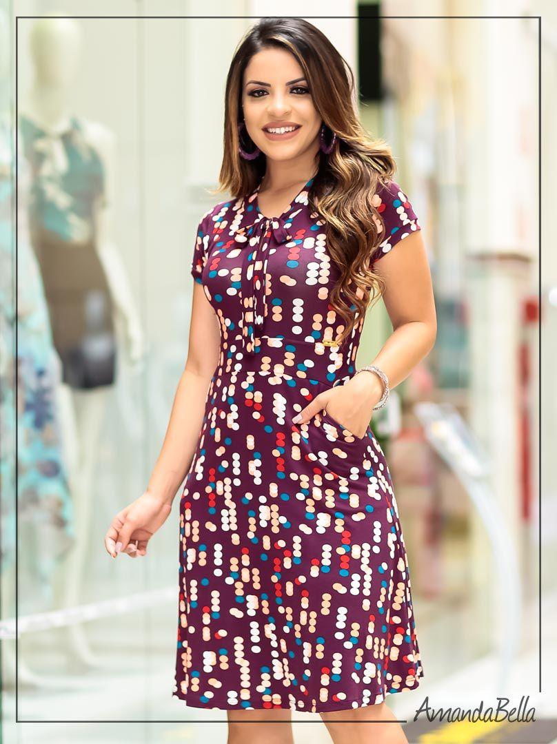 f24b5cf57 Vestido Evasê Manga Curta Uva Estampado Disco Art | BoutiqueK
