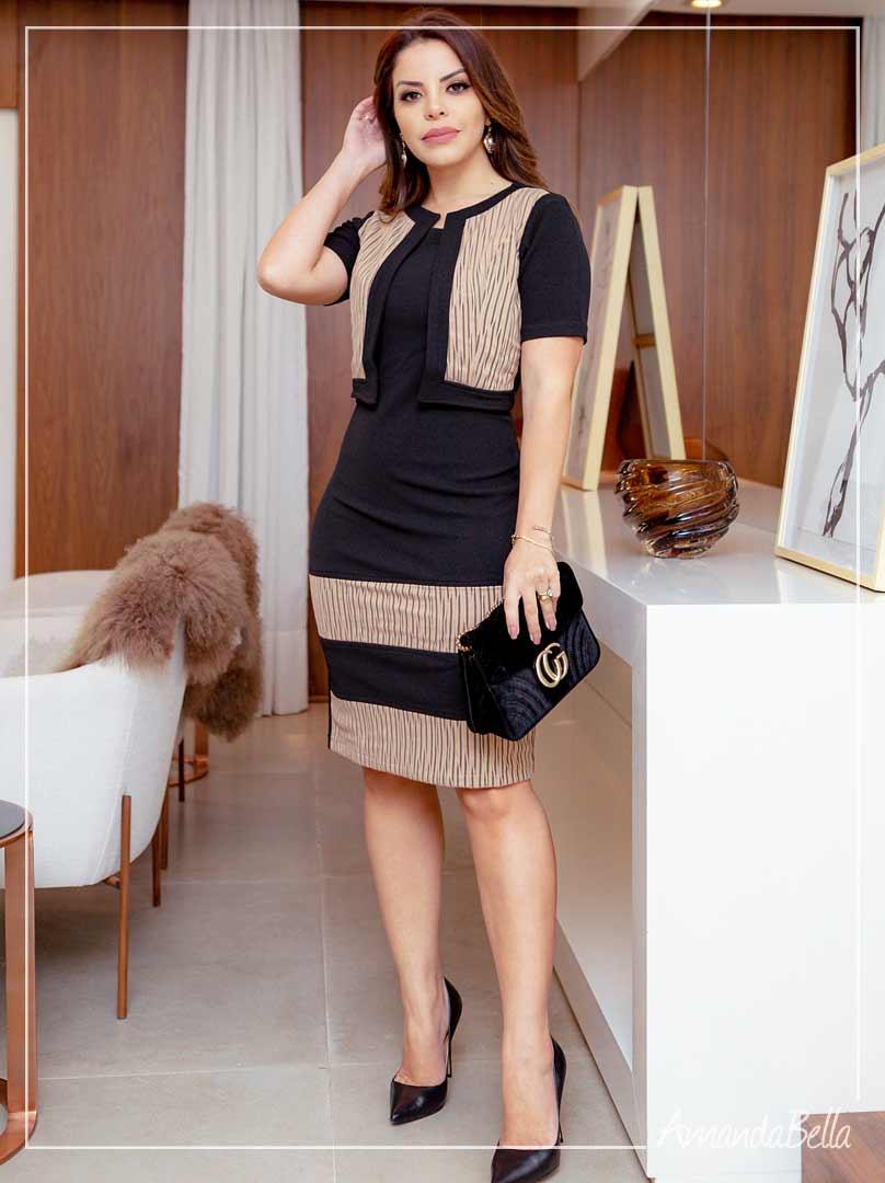 Vestido Exclusive com Casaco Embutido - Amanda Bella