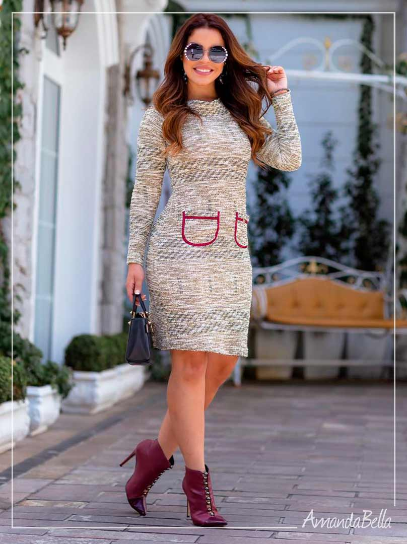 Vestido Exclusive Tweed Fundo Verde - Boutique K