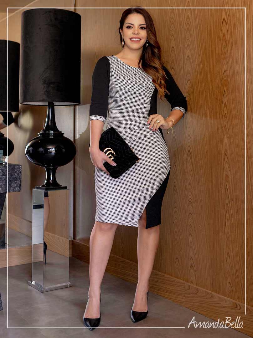 Vestido Executivo Pied de Poule - AmandaBella