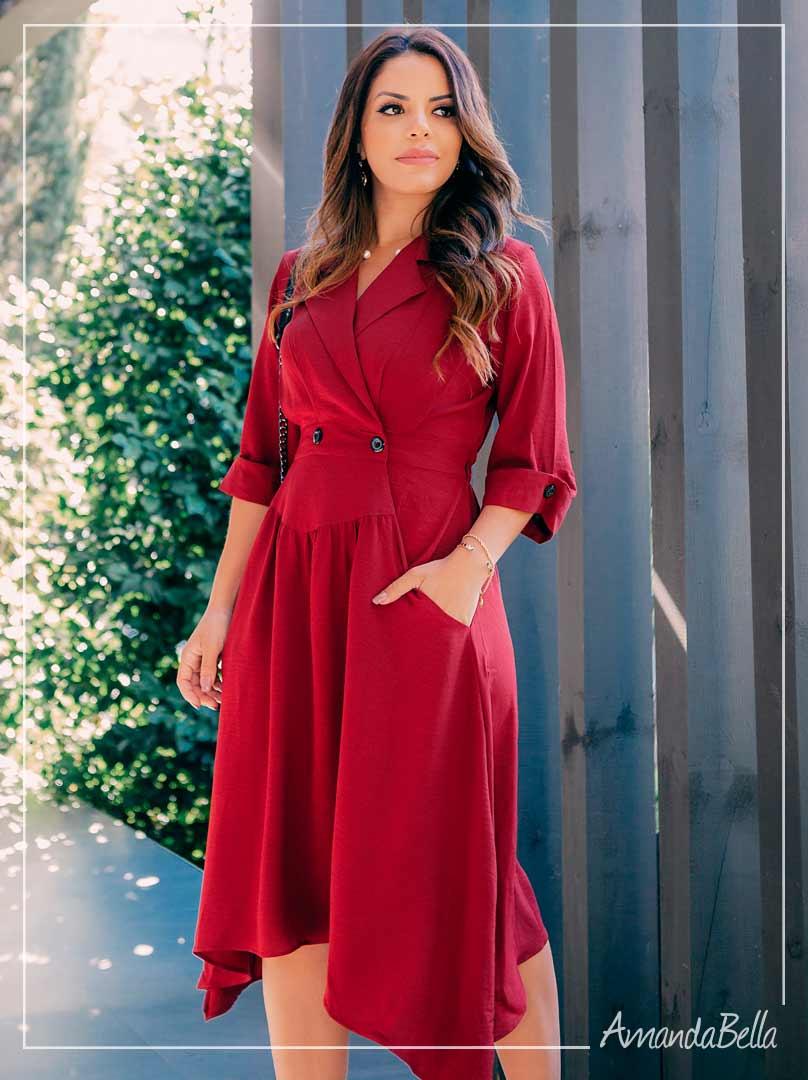 Vestido Executivo Premier Marsala  - AmandaBella