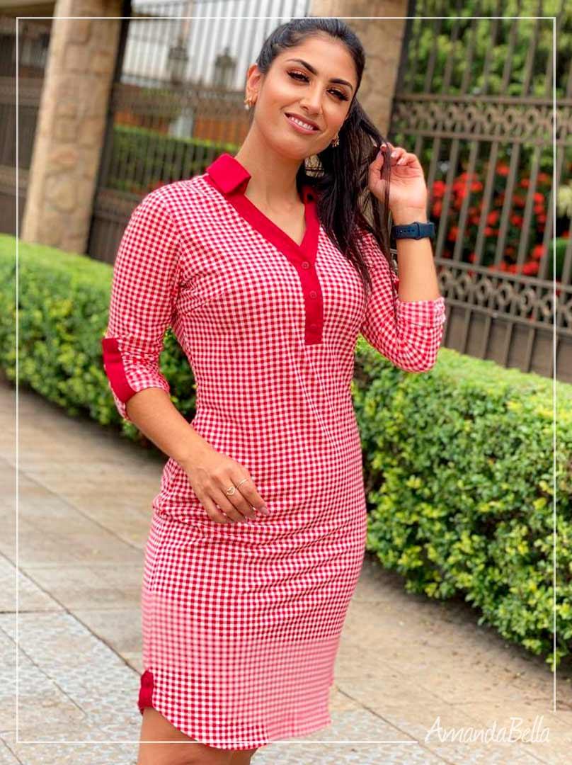 Vestido Executivo Style Vermelho  - AmandaBella